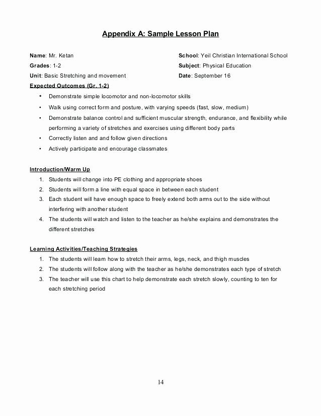 Physical Education Lesson Plans Template Luxury Adapted Physical Education Lesson Plan Template – Physical