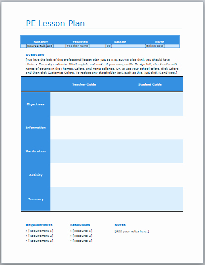 Physical Education Lesson Plans Template Luxury Ready Lesson Plan Archives Blue Layouts