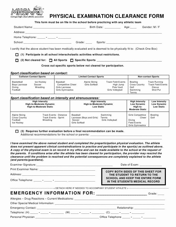 Physical Exam form Template Fresh Mhsaa athletic Physical forms