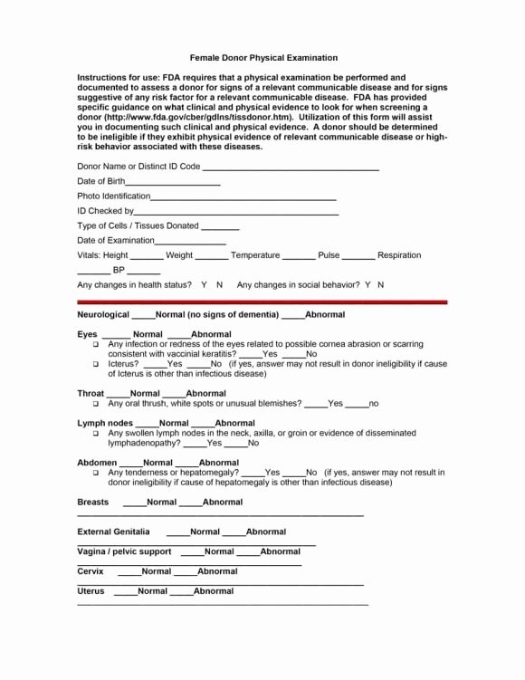 Physical Examination form Template Beautiful 43 Physical Exam Templates & forms [male Female]