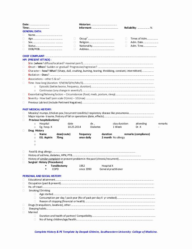 Physical Examination form Template Beautiful Classical Medical History and Physical Examination Template