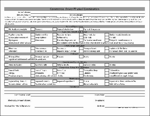 Physical Examination form Template Fresh Free Personalized Mercial Driver Physical Examination