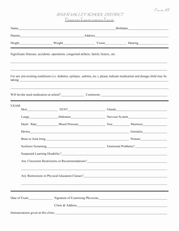 Physical Examination form Template New 43 Physical Exam Templates & forms [male Female]