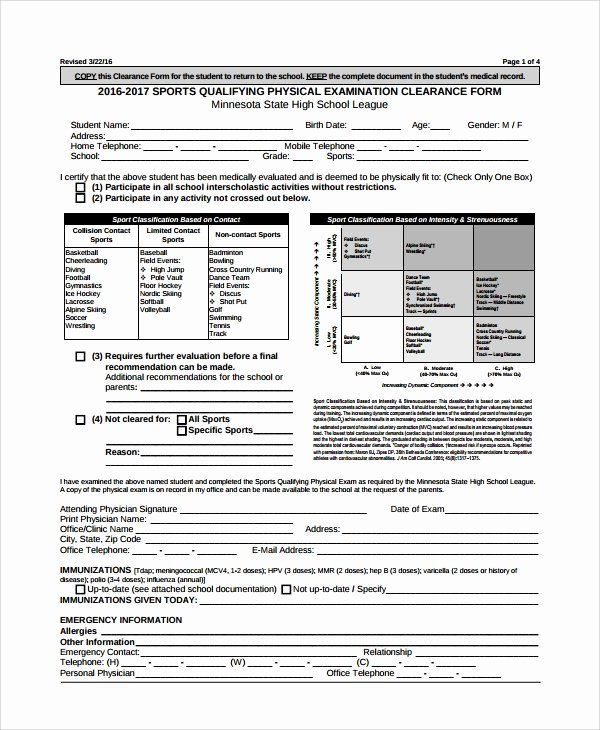 Physical Examination form Template New 9 Sample Physical Exam forms Pdf