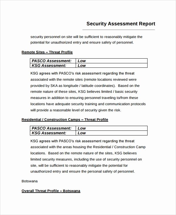 Physical Security Risk assessment Template Awesome Security assessment Physical Security assessment Report