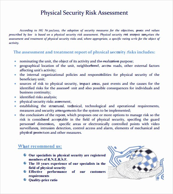 Physical Security Risk assessment Template Elegant Sample Security Risk assessment – 6 Example format