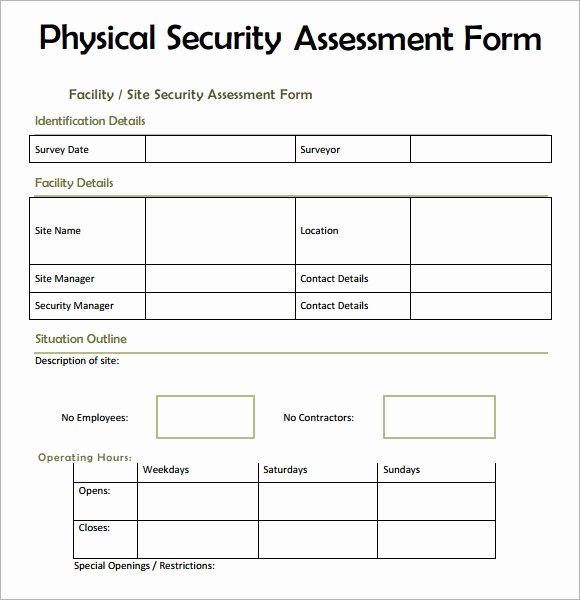 Physical Security Risk assessment Template Fresh Free 7 Security assessment Templates In Samples Examples