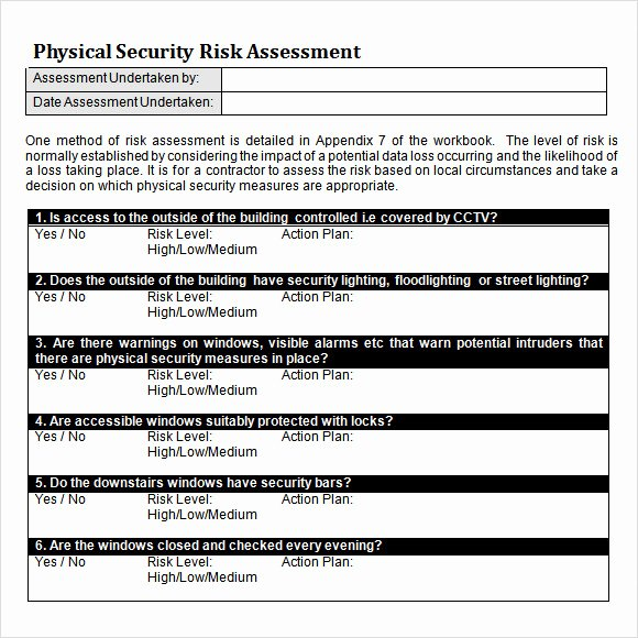 Physical Security Risk assessment Template Lovely Free 12 Sample Security Risk assessment Templates In Pdf