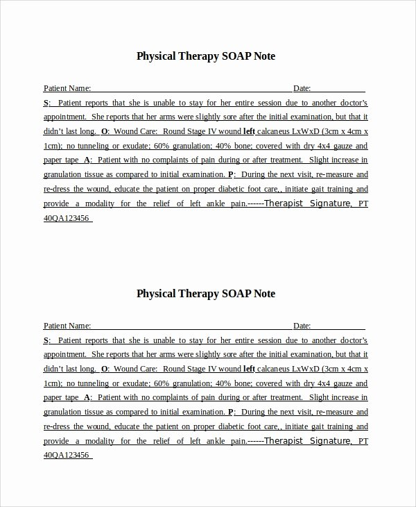 Physical therapy Daily Notes Templates Unique 15 soap Note Examples Free Sample Example format