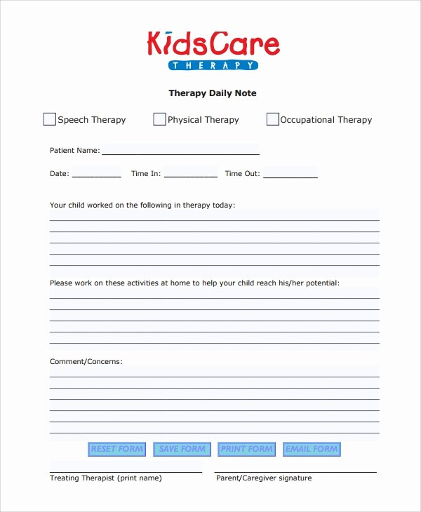 Physical therapy Daily Notes Templates Unique 6 therapy Notes Templates