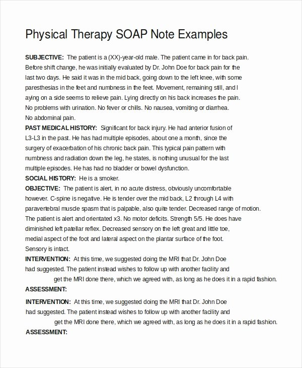 Physical therapy Evaluation Template Elegant 21 Note Template