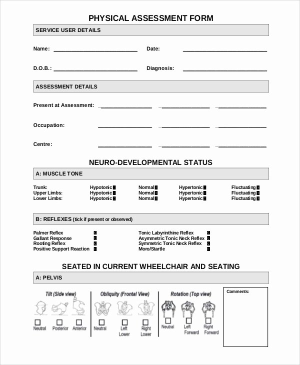 Physical therapy Evaluation Template Fresh Sample Physical assessment form 7 Documents In Pdf