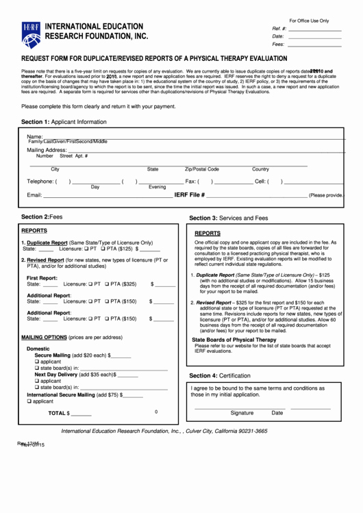 Physical therapy Evaluation Template Unique Fillable Request form for Duplicate Revised Reports A