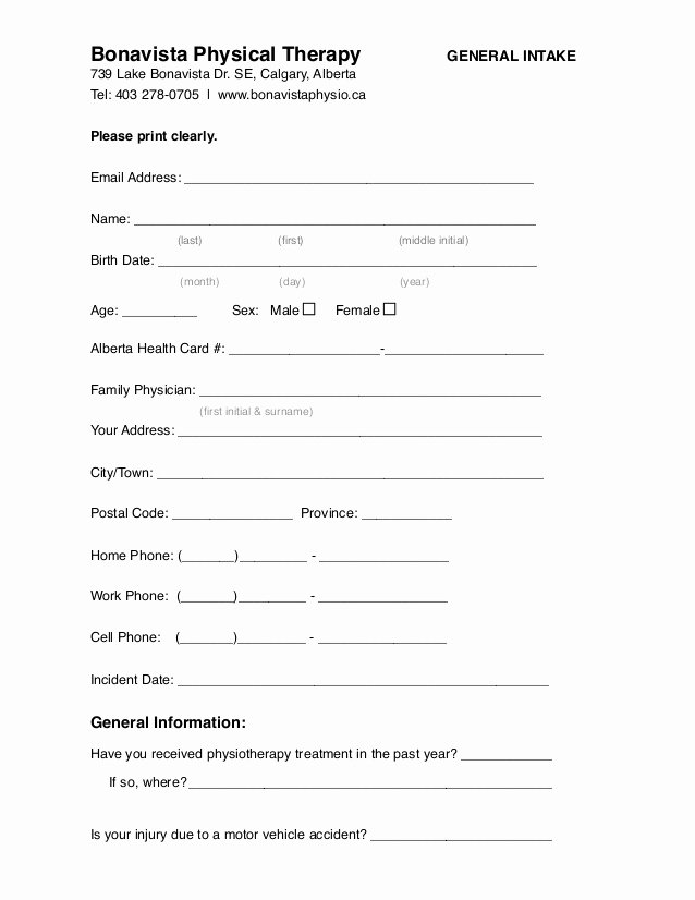 Physical therapy Evaluation Templates Best Of Calgary Physiotherapy General Intake form