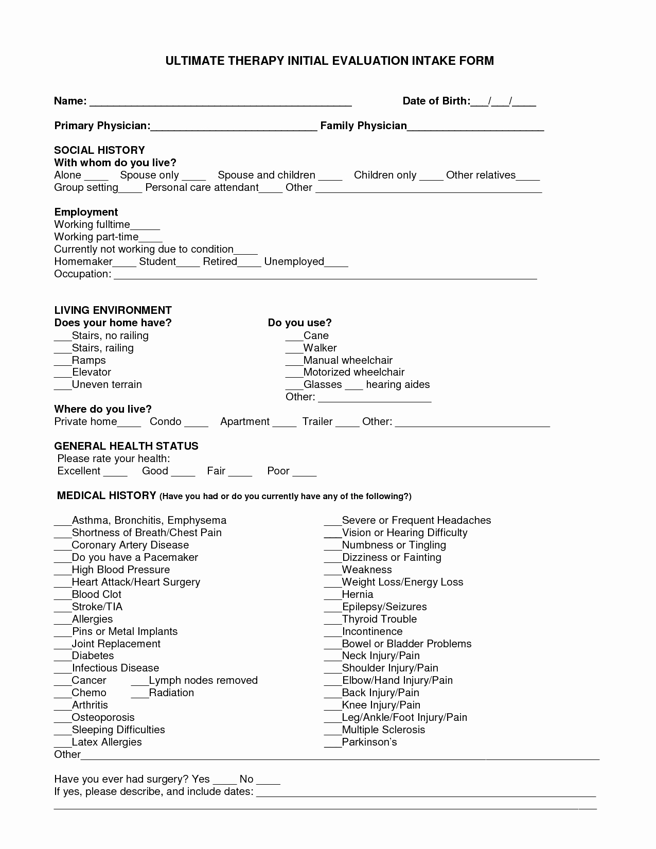 Physical therapy Evaluation Templates Lovely Best S Of Pt Initial Evaluation Samples Sheet