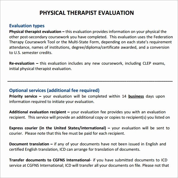 Physical therapy Initial Evaluation Template Fresh Physical therapy Evaluation 6 Free Download for Pdf
