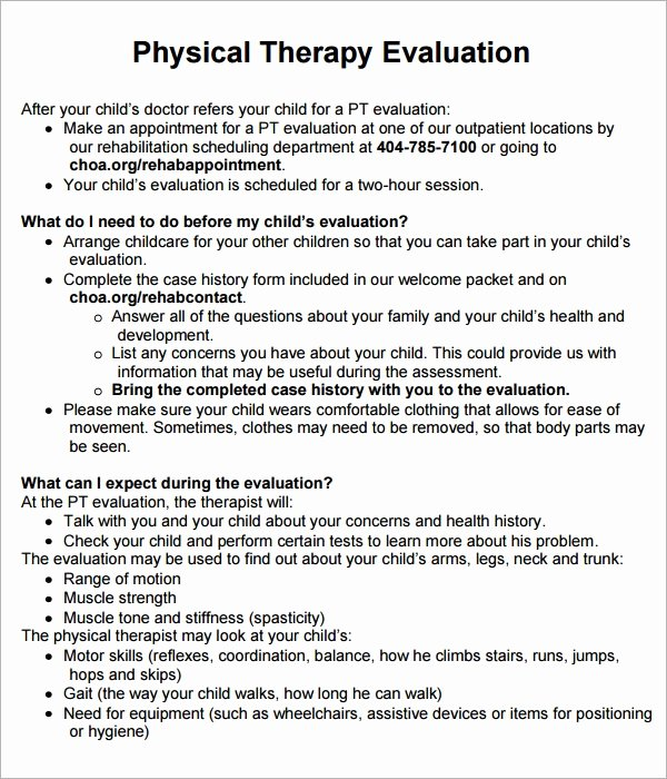 Physical therapy Initial Evaluation Template Fresh Physical therapy Evaluation 7 Free Download for Pdf