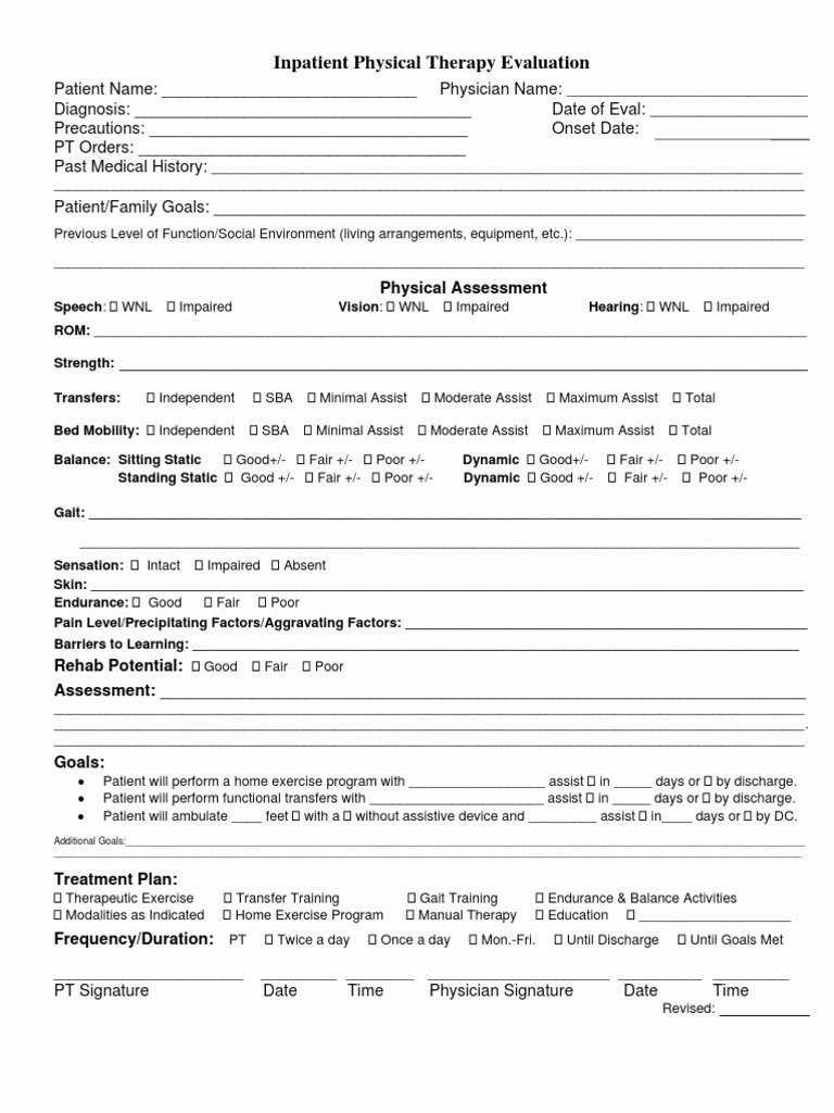 Physical therapy Initial Evaluation Template Unique Bsc Pt Inpatient Pt Evaluation form Doc
