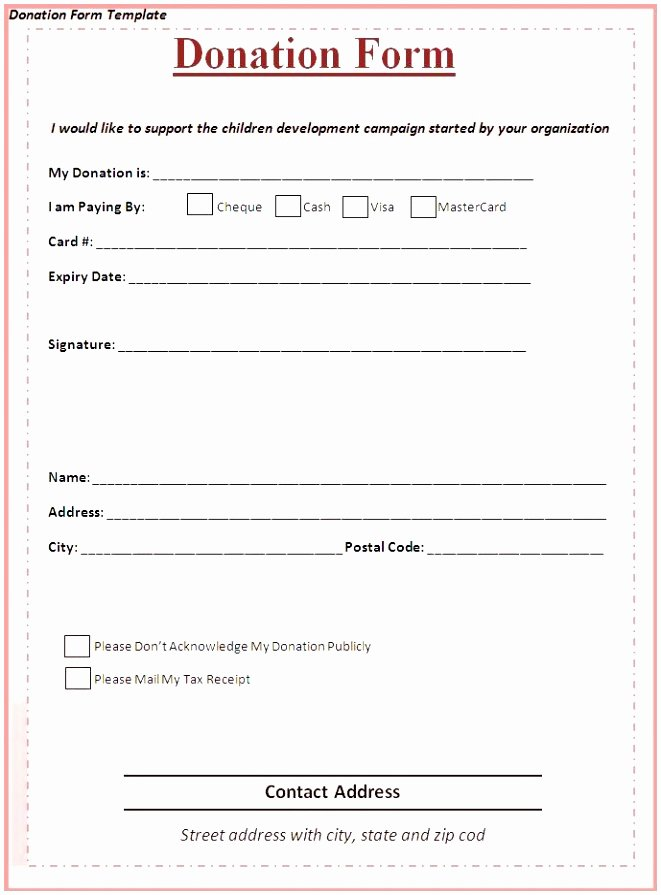 Pledge Card Template Word Best Of 9 Charity Pledge form Template Dtauw