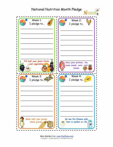 Pledge Card Template Word Fresh National Nutrition Month Weekly Pledge Cards for Kids