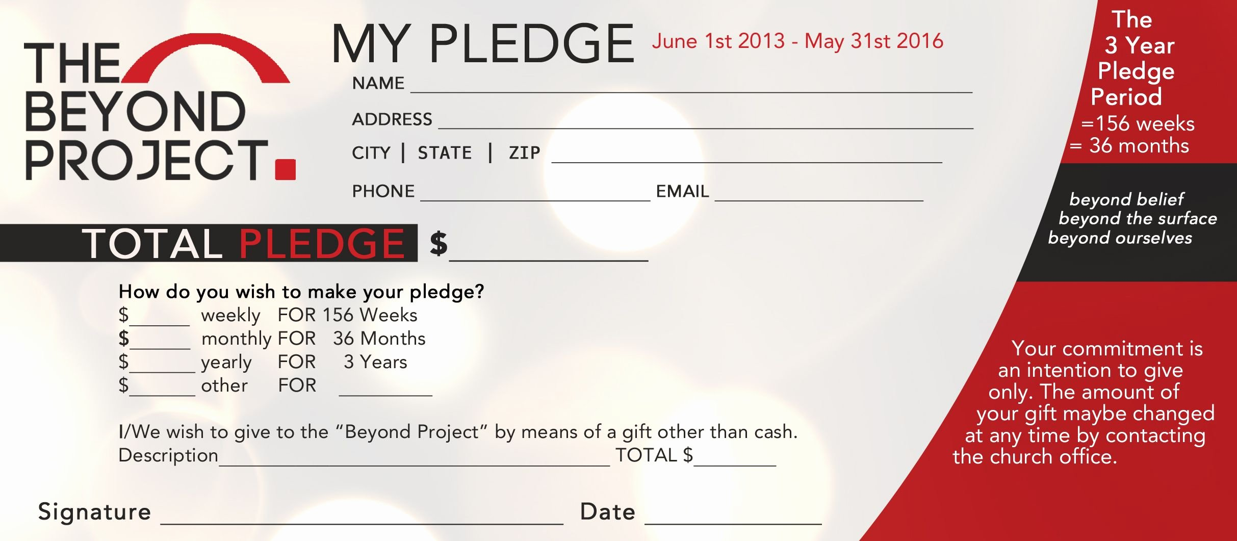 Pledge Card Template Word Lovely Church Pledge form Template Hausn3uc