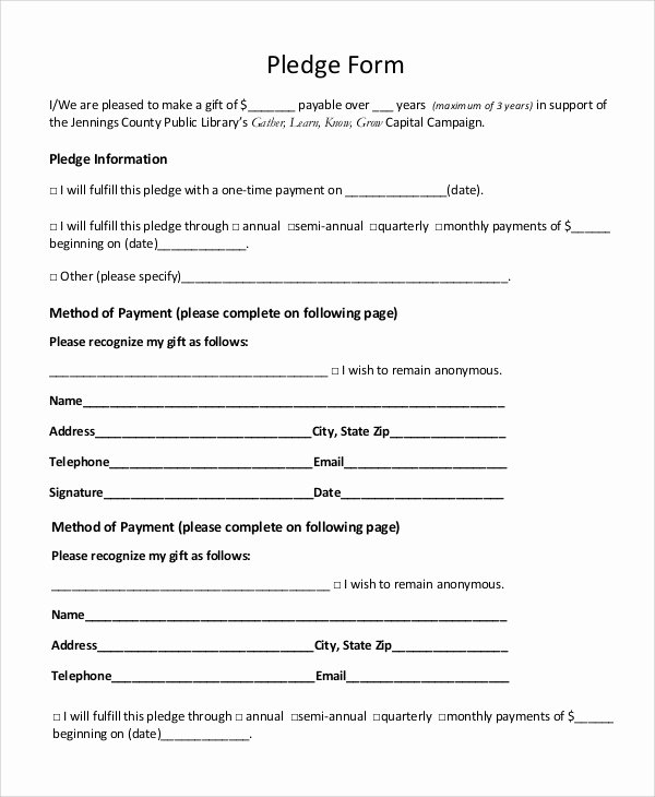 Pledge Card Template Word New 8 Sample Pledge forms Pdf Word