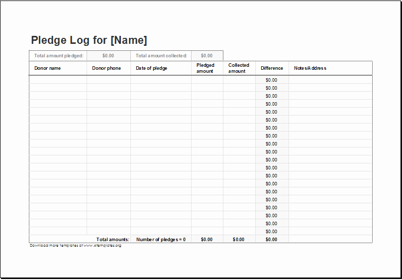Pledge Card Template Word Unique Donation Pledge Log Template for Excel