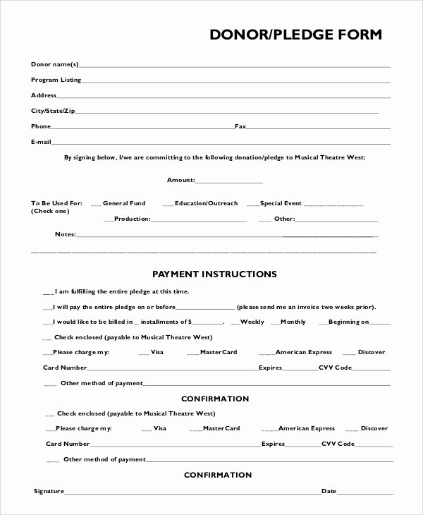 Pledge Card Template Word Unique Generic Donation form Picture – Charitable Donation