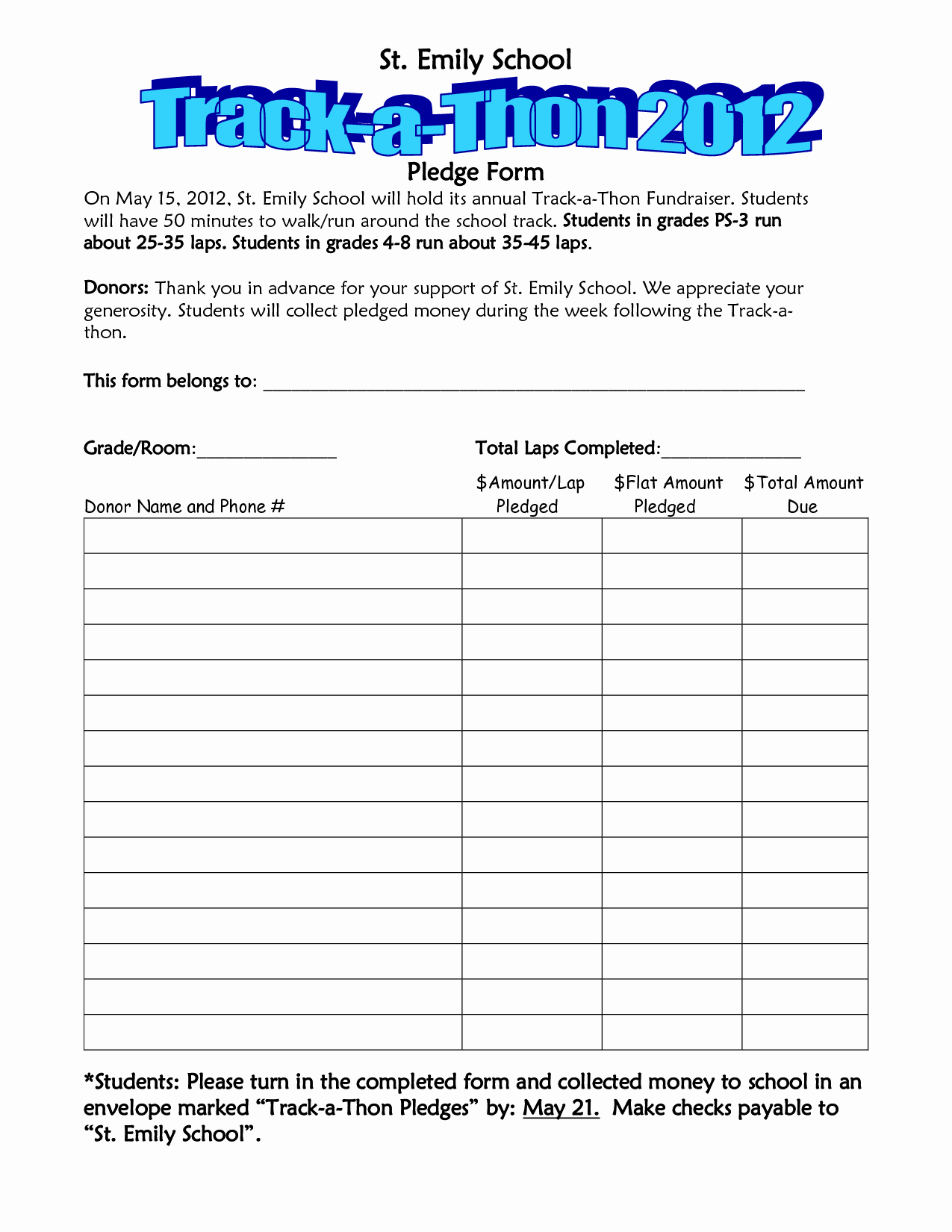Pledge Card Template Word Unique Walkathon Pledge form Template Invitation Templates