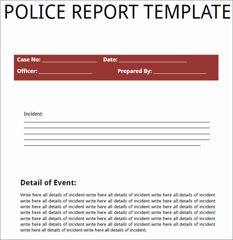 Police Report Template Microsoft Word Awesome Police Report Template