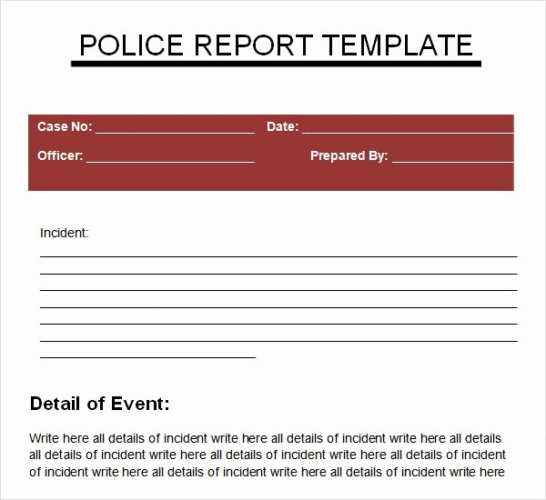 Police Report Template Microsoft Word Elegant Sample Police Report 5 Documents In Pdf