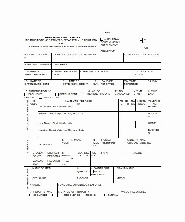 Police Report Template Microsoft Word Fresh Incident Report Template 16 Free Download Documents In