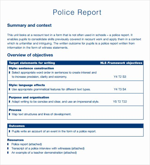 Police Report Template Microsoft Word Luxury Report Template 16 Download Free Documents In Pdf Word