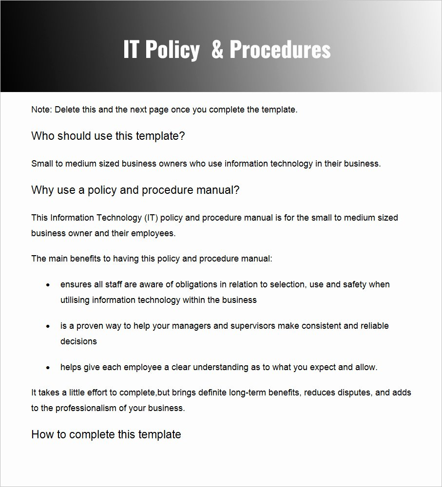 Policy and Procedure Template Examples Awesome Policies and Procedures Template