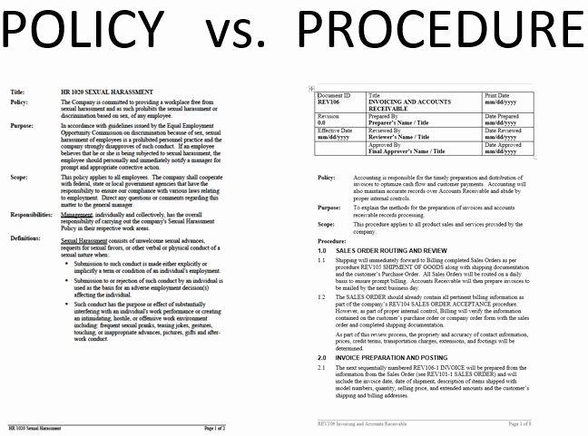 Policy and Procedure Template Examples Awesome What S the Difference Between Policies and Procedures