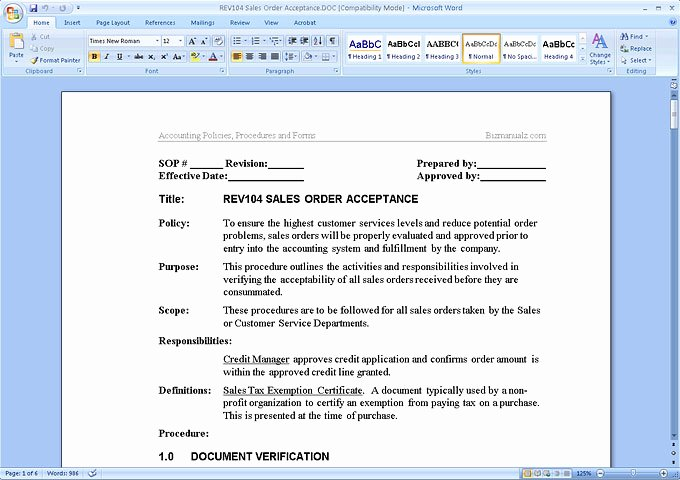 Policy and Procedure Template Examples Best Of Accounting Policies and Procedures Manual