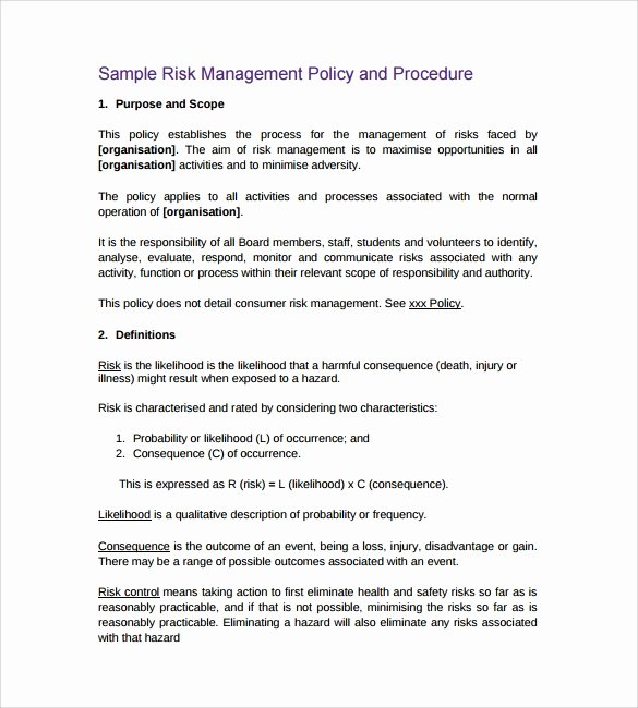 Policy and Procedure Template Examples Best Of Free 13 Policy and Procedure Templates In Pdf