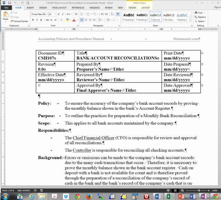 Policy and Procedure Template Examples Best Of Policy and Procedure Manual Sample Free Leadupload