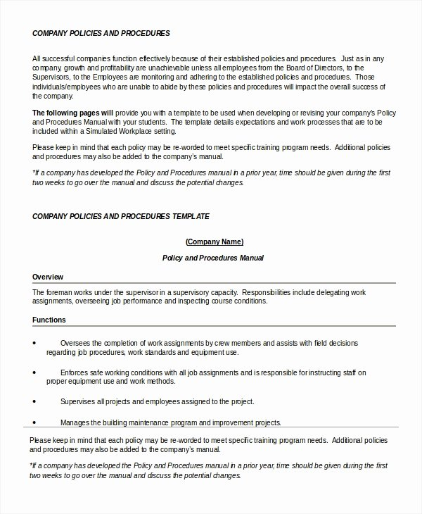 Policy and Procedure Template Examples Best Of Policy Template 7 Free Word Pdf Documents