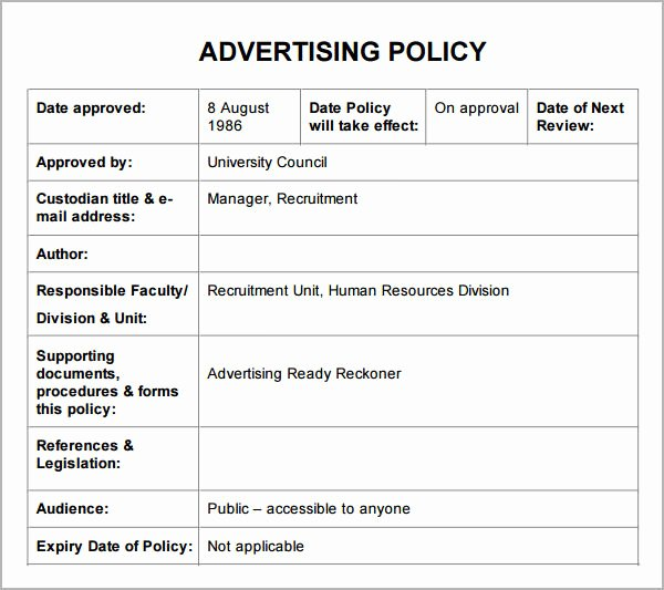 Policy and Procedure Template Examples New Policies and Procedures Template