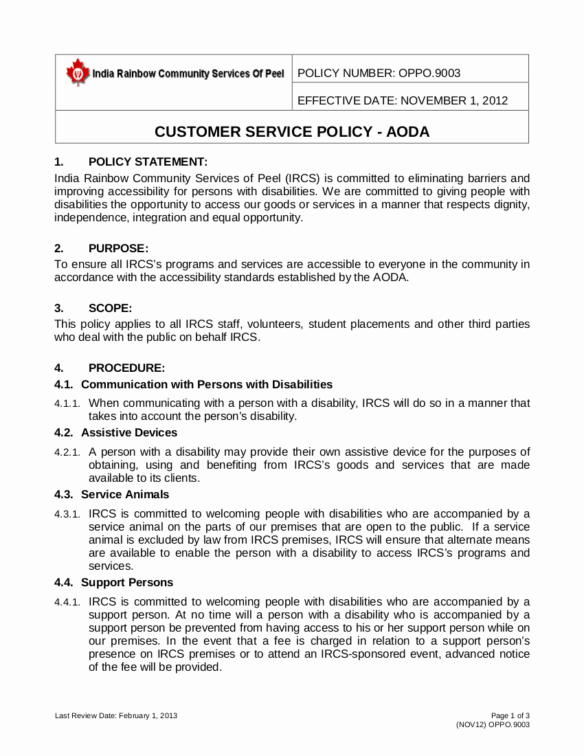 Policy and Procedure Template Examples Unique Free 21 Customer Service Policy Examples In Pdf