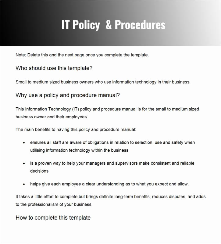 Policy and Procedure Template Free Inspirational Policies and Procedures Template