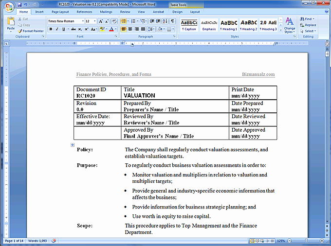 Policy and Procedure Templates Awesome Policy and Procedure Template