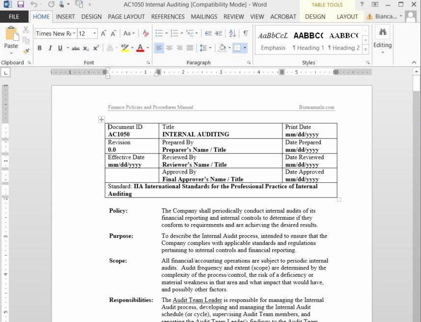 Policy and Procedure Templates Best Of Free Sample Policies and Procedures Template