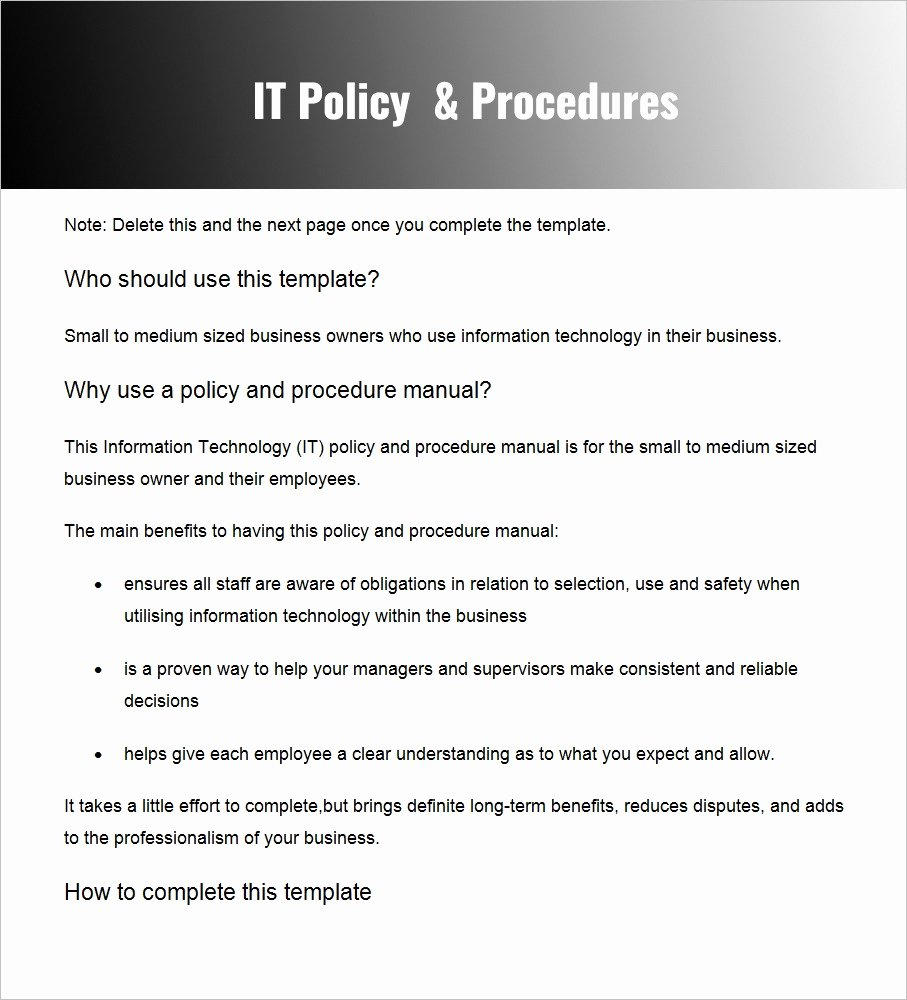 Policy and Procedure Templates Elegant Policy and Procedure Templates – Word & Pdf Download