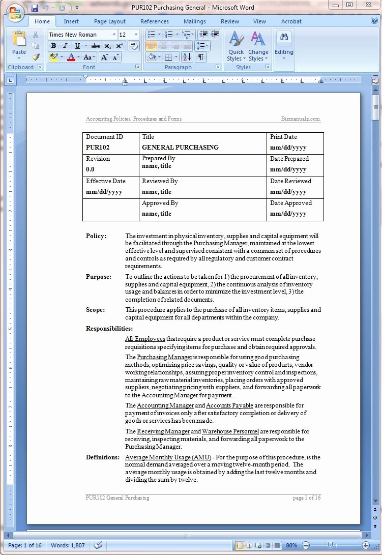 Policy and Procedure Templates Unique Procurement Policy and Procurement Procedure Template