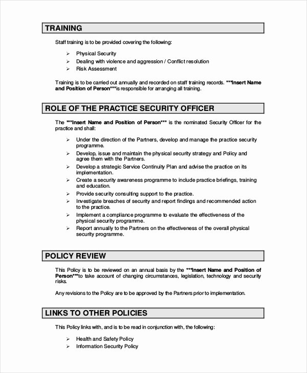 Policy and Procedures Template Fresh Security Policy Template 7 Free Word Pdf Document