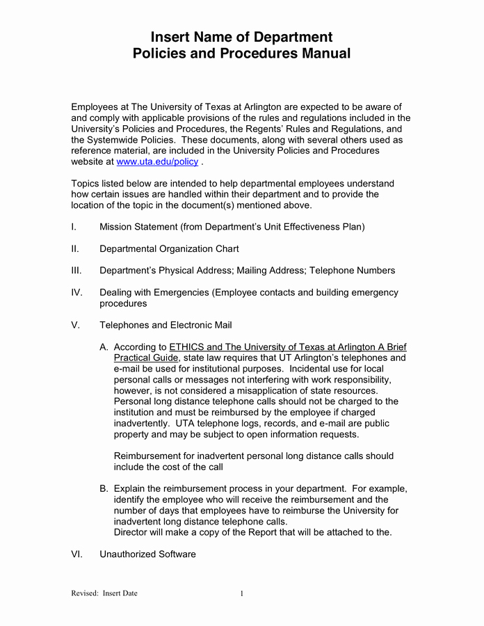 Policy and Procedures Template New Departmental Policies and Procedures Manual Template In