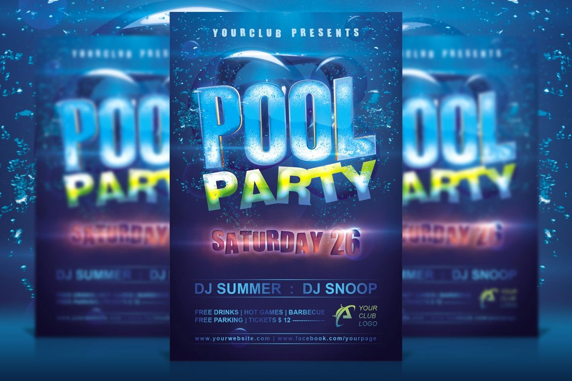 Pool Party Flyer Template Beautiful Pool Party Flyer Flyer Templates Creative Market