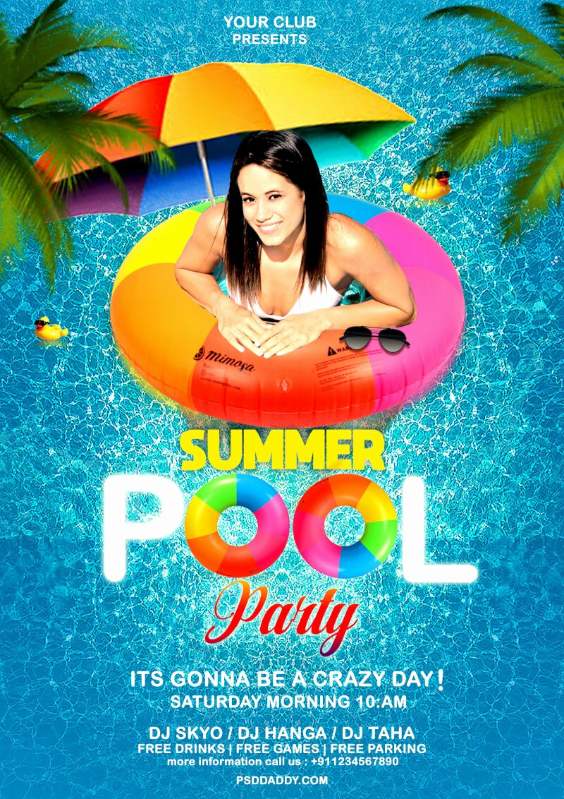 Pool Party Flyer Template Beautiful Pool Party Flyer Psd Template